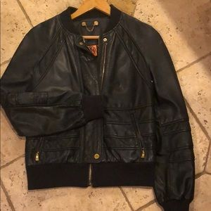 Tory burch leather bomber jacket.